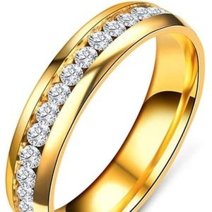 Mens Womens gold Stainless Steel CZ Crystal Ring